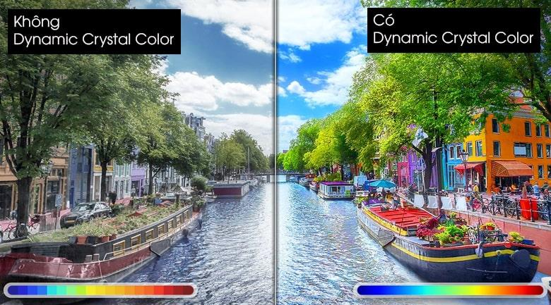 Tivi Samsung UA 55AU9000 vớicông nghệ Dynamic Crystal Color có thể hiển thị chính xác hàng tỷ sắc màu