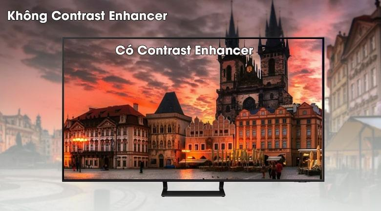 Chiếc tivi Samsung UA55AU9000 với công nghệ Contrast Enhancer tăng cường độ tương phản tối đa