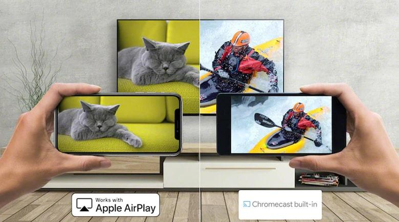 Tivi OLed XR 55A90JChia sẻ nội dung từ điện thoại lên tivi dễ dàng qua tính năngChromecast(Android và iPhone), AirPlay 2 (iPhone)