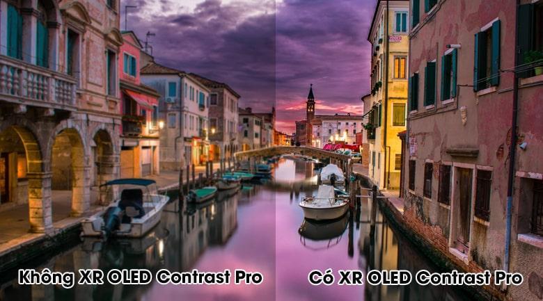 Tivi Sony XR 55A90J giúp tái tạo màu đen sâu thẳm, màu trắng sáng tối đa quacông nghệ tương phản XR OLED Contrast Pro