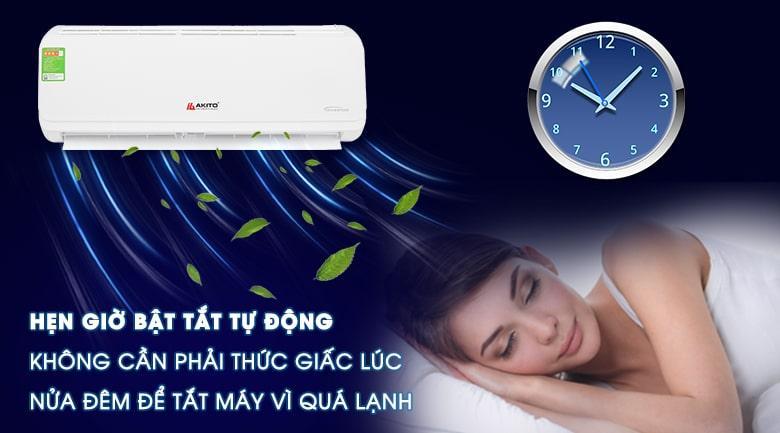 AIC-09ST hẹn giờ bật tắt tự động không cần phải thức giấc lúc nửa đêm để tắt máy vì quá lạnh