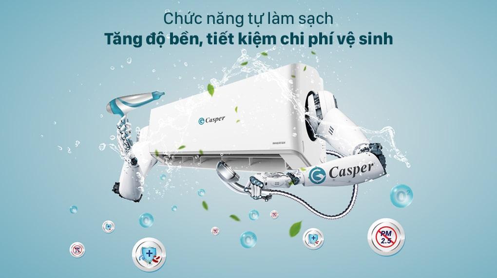Điều hoà Casper GC 09IS32 có thể tự làm sạch giúp sản phẩm bền hơn và tiết kiệm chi phí sử dụng