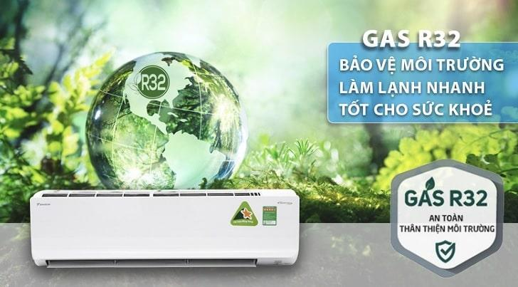 YZ18UKH-8 sử dụng Gas R32 bảo vệ môi trường, làm lạnh nhanh, tốt cho sức khỏe