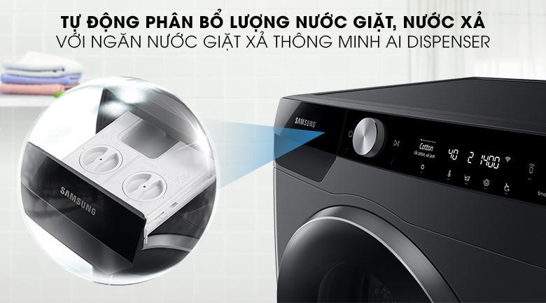 Máy giặt WW90TP44DSB/SV sở hữu ngăn nước xả AI Dispenser thông minh tự phân bổ lượng nước giặt và nước sử dụng