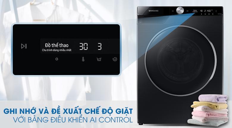 Máy giặt WW90TP44DSB/SV có bảng điều khiển AI Control có thể ghi nhớ và đề xuất chế độ giặt thông minh