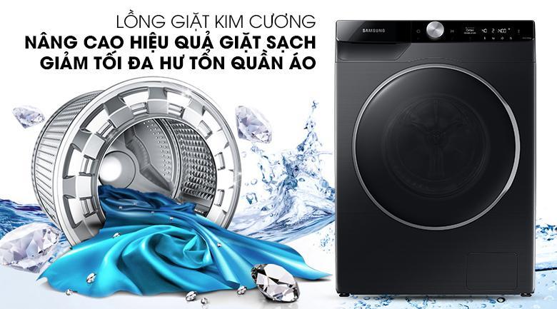 Máy giặt Samsung WW90TP44DSB/SV sở hữu lồng giặt kim cương giúp giặt sạch hiệu quả, giảm hư tổn quần áo rất đáng kể