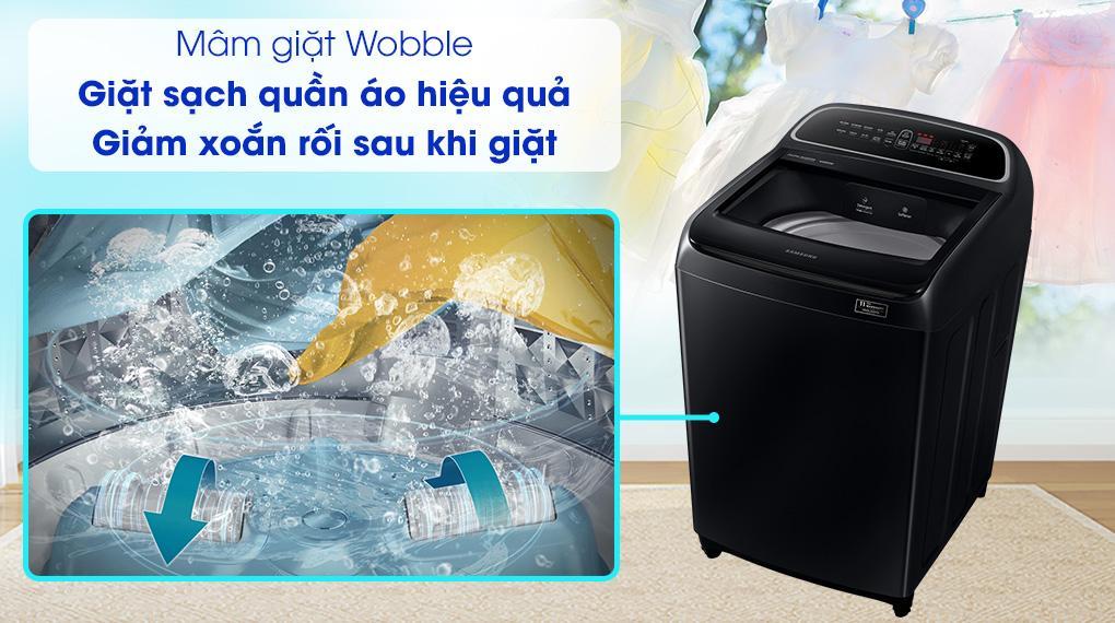 Máy giặt Samsung WA10T5260BV/SV sở hữu mâm giặt Wobble chống xoắn tốt và bảo vệ quần áo tối ưu