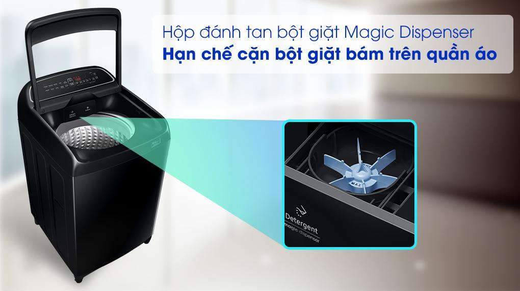 Mang đến hộp Magic Dispenser hạn chế tốt tình trạng bám cặn và hoà tan bột giặt hiệu quả
