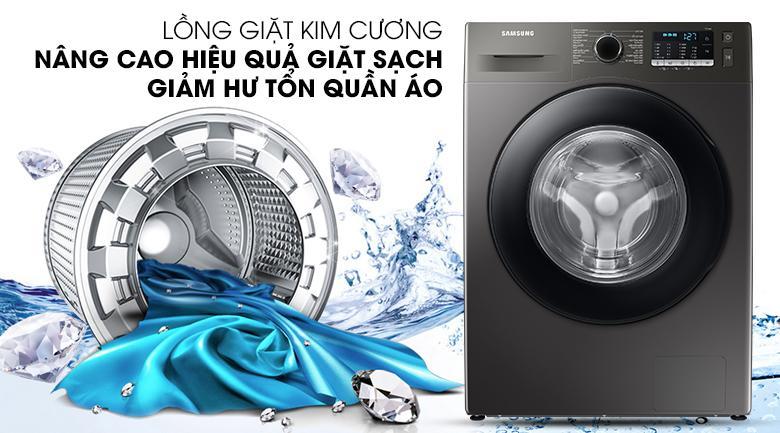 Máy giặt WW 95TA046 AX/SV với thiết kế lồng giặt kim cương giảm thiểu hư tổn và nâng cao hiệu quả giặt sạch