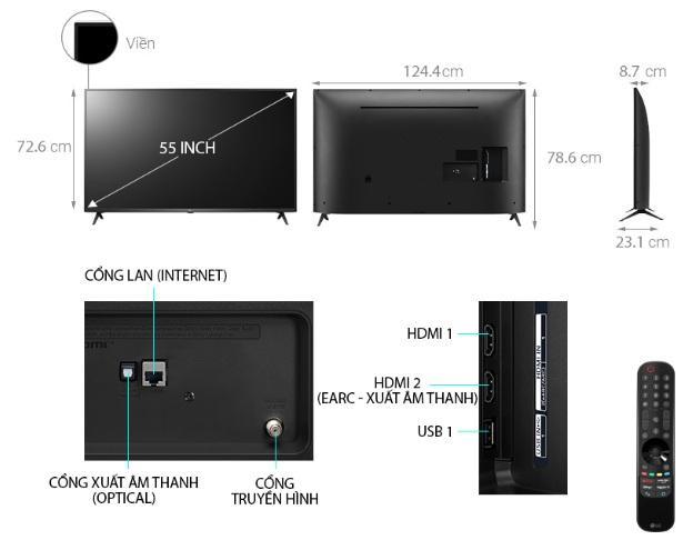 mô tả chi tiết tivi 55UP7550