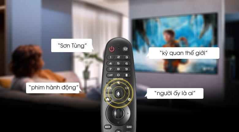 remote trên tivi 55UP7550 cho tìm kiếm giọng nói