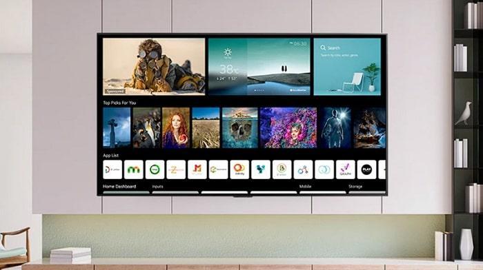Tivi LG 50NANO77TPA màn hình chính với giao diện phẳng dễ sử dụng