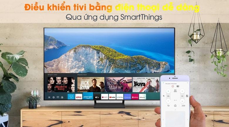 Tivi Samsung QA 50Q65A Dễ dàng điều khiển tivi bằng điện thoại qua ứng dụng SmartThings