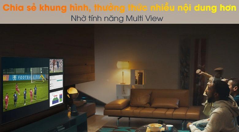 Tivi QA 50Q65A giúp bạn có thể xem hai nội dung trêntivicùng lúc nhờ tính năng Multi View