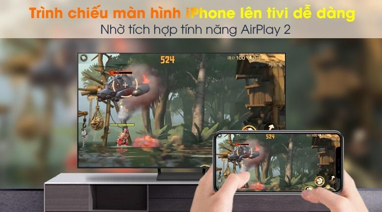 Tivi Samsung QA 50Q65A có thể trình chiếu màn hình điện thoại lên tivi dễ nhờ các tính năng AirPlay 2 (thiết bị Apple) và Tap View (Samsung)
