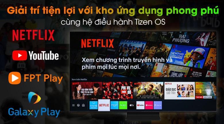 Tivi Samsung QA55QN90A trang bị kho ứng dụng đa dạng, phong phú và sử dụng hệ điều hành Tizen OS