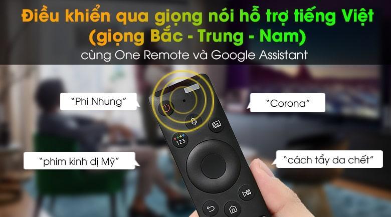Tivi QA 55QN90A giúp bạn có thể điều khiển tivi bằng giọng nói, hỗ trợ tiếng Việt (giọng Bắc, Trung, Nam) thông qua One Remote và Google Assistant