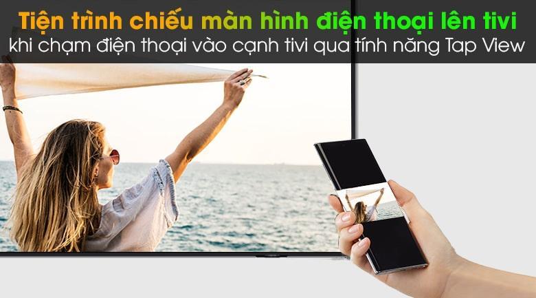Tivi Samsung QA55QN90A giúp kết nối và trình chiếu từ điện thoại lên tivi dễ dàng với các tính năng thông minh AirPlay 2, TapView, MultiView