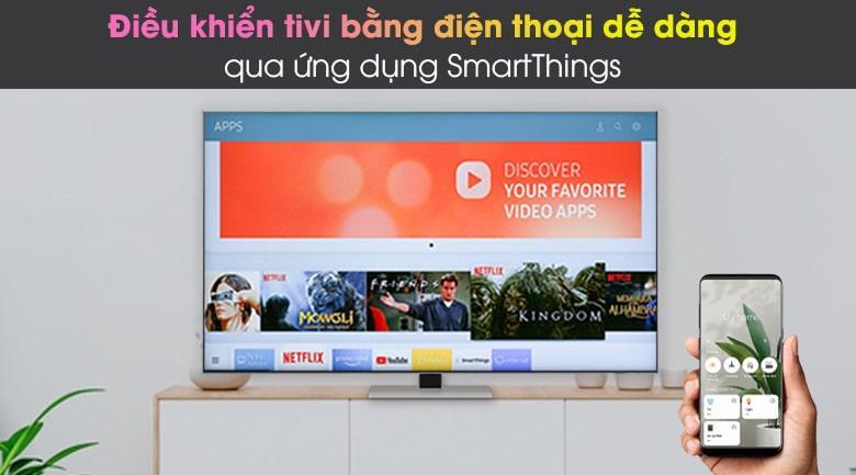 Tivi Neo QA 75QN85A giúp bạn Điều khiển bằng điện thoại dễ dàng TV qua ứng dụng SmartThings