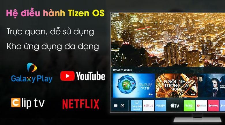 Tivi Samsung QA 75QN85A được trang bị kho ứng dụng phong phú, giao diện dễ dùng với hệ điều hành Tizen OS