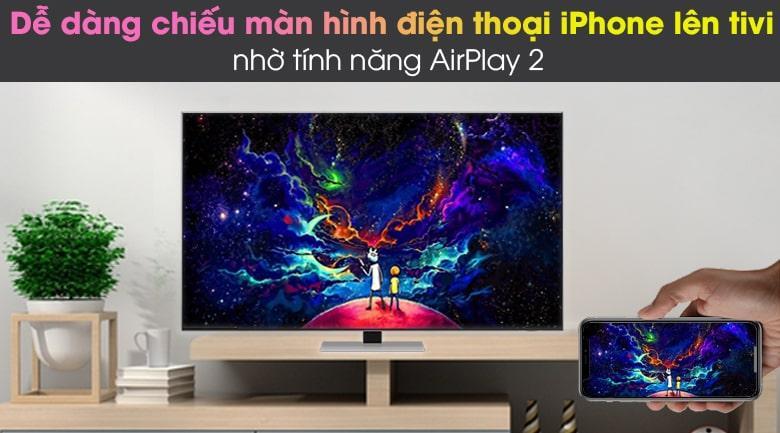 Tivi QA 75QN85A có thể trình chiếu màn hình điện thoại lên tivi dễ dàng nhờ các tính năng Airplay 2 (thiết bị Apple) vàTap View(Samsung)