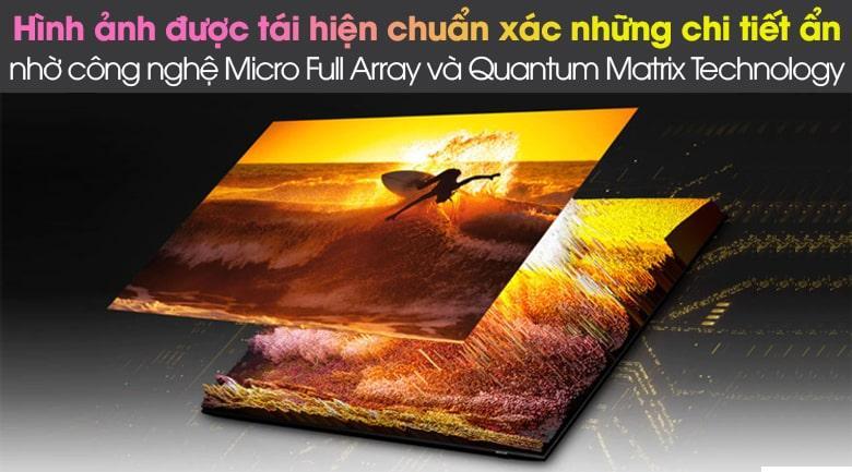 Tivi Qled QA75QN85A với công nghệ Quantum Matrix Technology vàđèn nền Micro Full Array giúp tái hiện chuẩn xác chi tiết ẩn