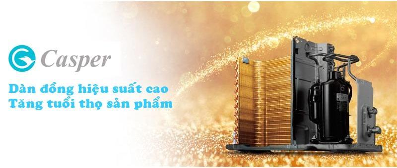 Điều hòa casper EH-18TL22 dàn tản nhiệt đồng mạ vàng tăng hiệu suất làm lạnh