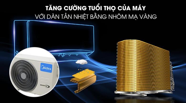 Dan tản nhiệt đặc biệt được lớp phủ mạ vàng tăng tuổi thọ máy rất đáng kể