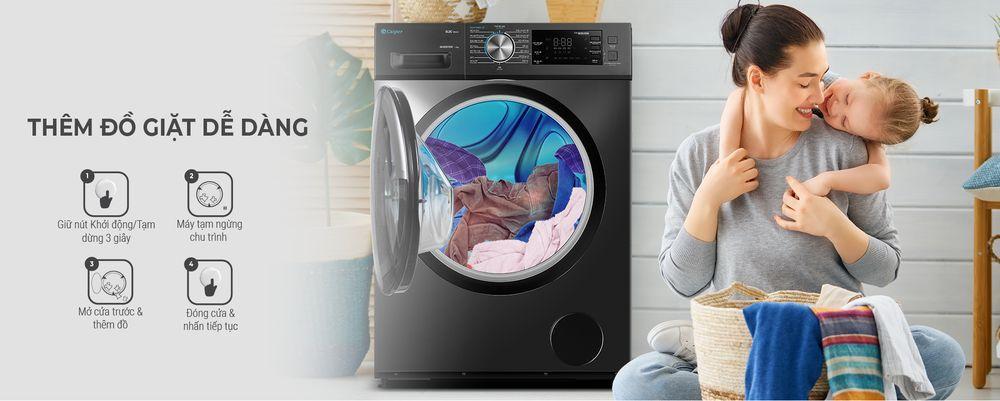 Máy giặt Casper WF-105I150BGB tiện lợi hơn với khả năng thêm đồ khi giặt