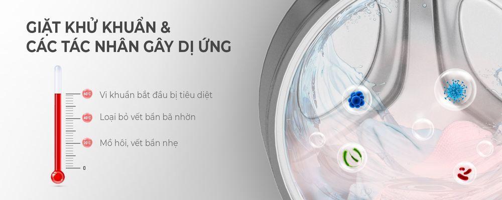 Máy giặt Casper WF-105I150BGB giăt nước nóng giúpdiệt khuẩn hiệu quả 99,9%