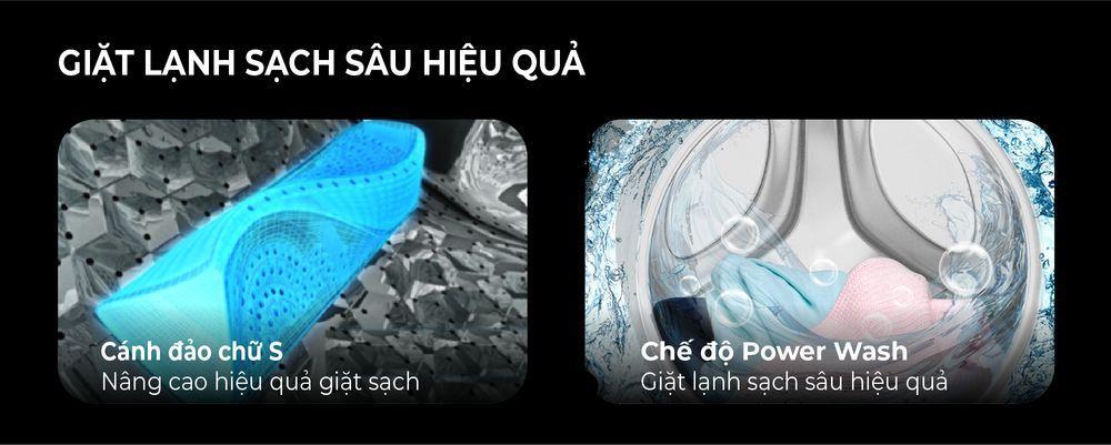 Cánh đảo chữ S giúp sản phẩm giặt sạch sâu hơn trong mỗi chu trình giặt