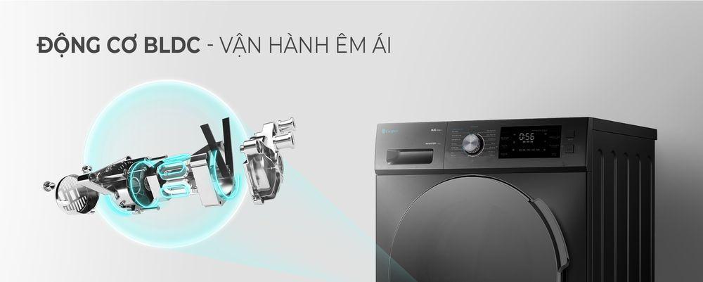 Máy giặt Casper WF-105I150BGB sở hữu động cơ BLDC vận hành êm, độ bền cao