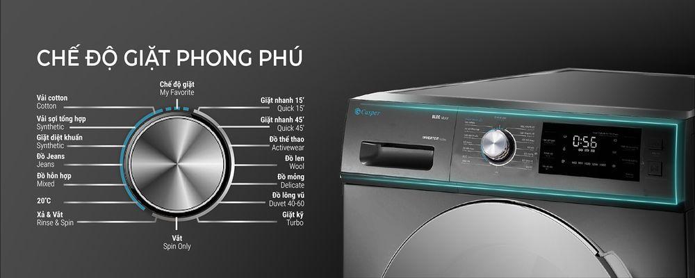 Máy giặt Casper WF-105I150BGB trang bị 16 chương trình giặt tiện lợi