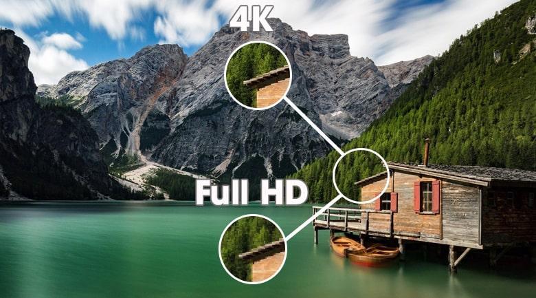 hiển thị hình ảnh sắc nét gấp 4 lần độ phân giải 4K