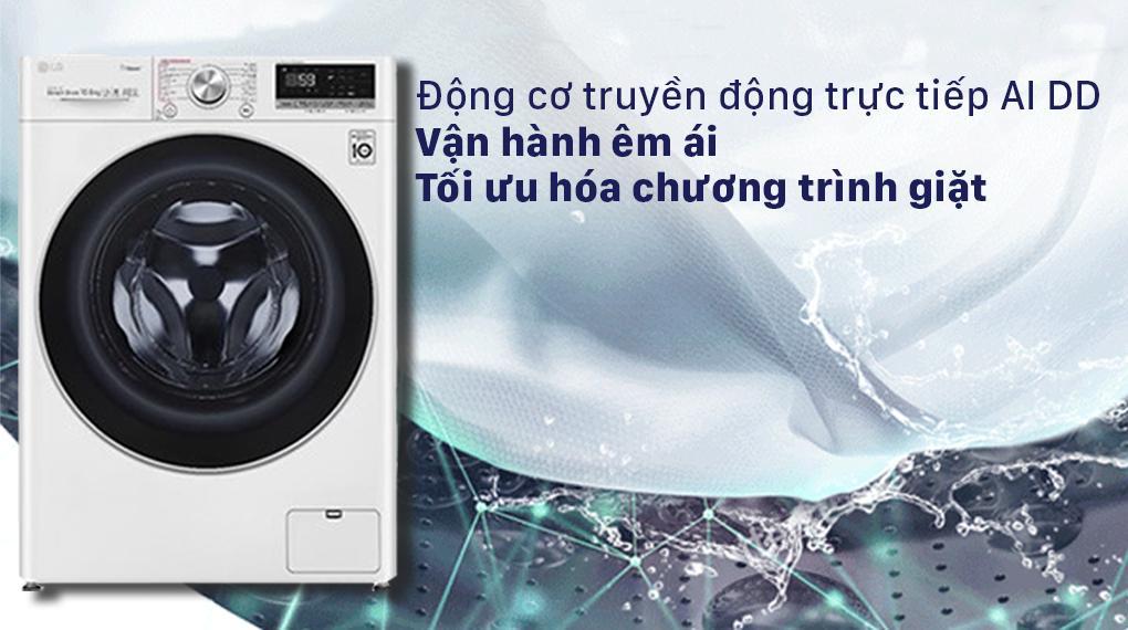 Máy giặt LG FV1450S3W2 có động cơ truyền động trực tiếp kết hợp AI nên hoạt động êm ái, tối ưu chương trình giặt phù hợp nhất