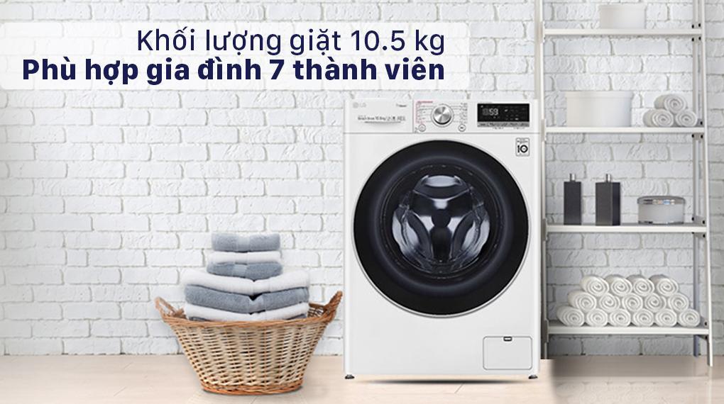 Máy giặt LG FV1450S3W2 có khối lượng giặt 10.5 kg rất lớn sử dụng cho 7 người.