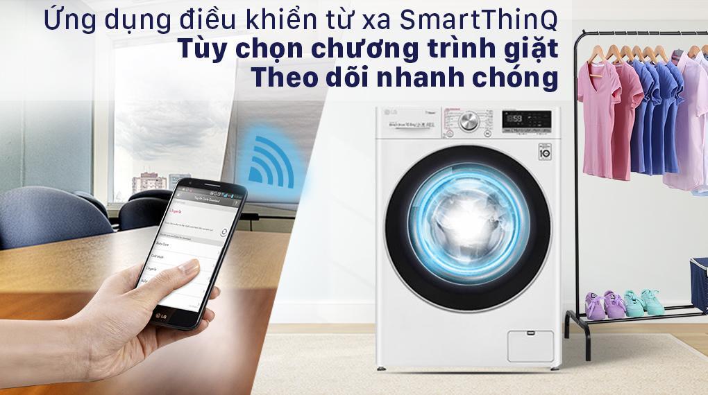 Trang bị ứng dụng SmartThinQ với nhiều tiện ích hiện đại và có thể điều khiển từ xa