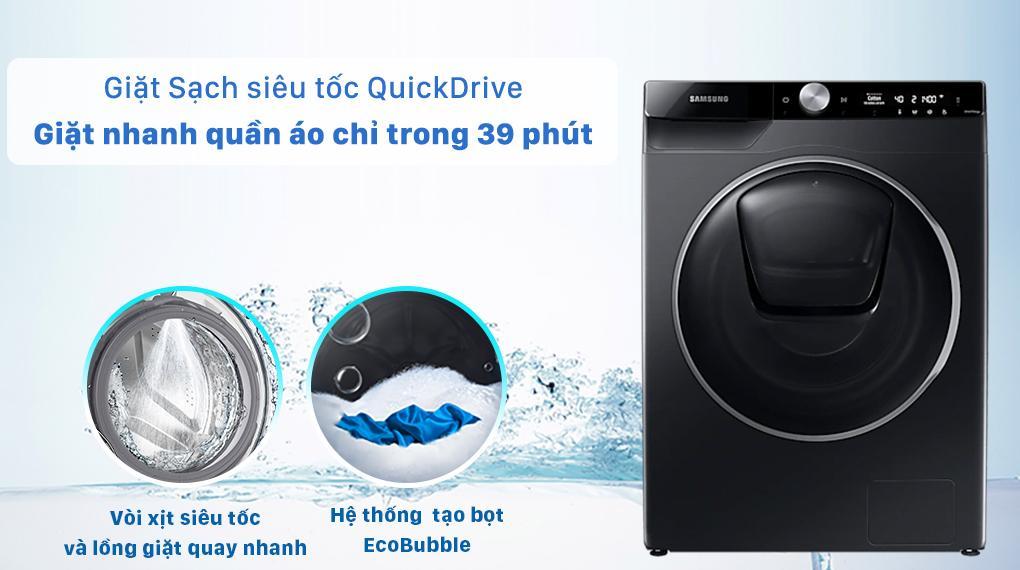 Máy giặt WW10TP54DSB/SV sẽ giúp bạn giặt nhanh hơn nhờ trang bị công nghệ sạch siêu tốc QuickDrive