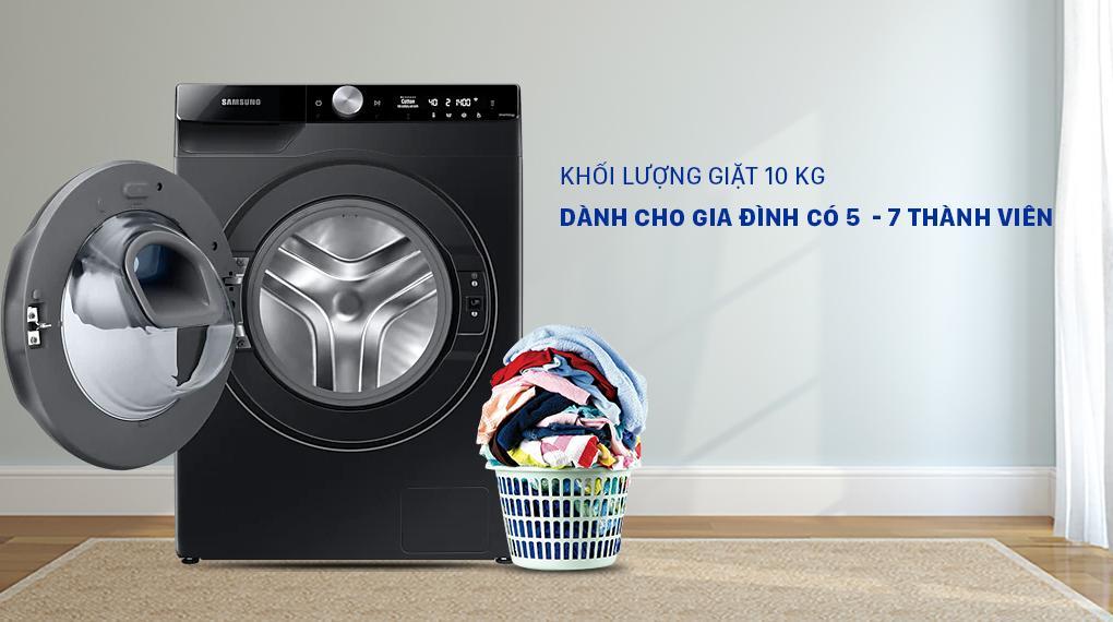 Máy giặt Samsung WW10TP54DSB/SV có thể giặt lượng đồ có khối lượng lên đến 10kg thoải mái cho gia đình 5-7 người