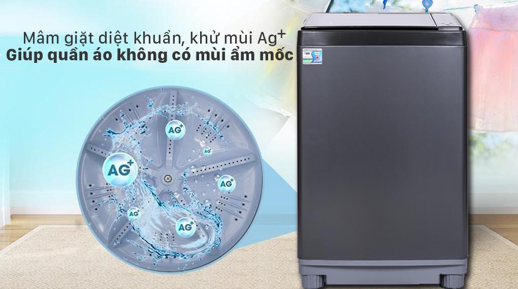 Máy giặt Aqua AQW-FW120GT BK giúp bạn cùng gia đình diệt khuẩn, khử mùi tối ưu cùng mâm giặt được tích hợp Nano Ag+