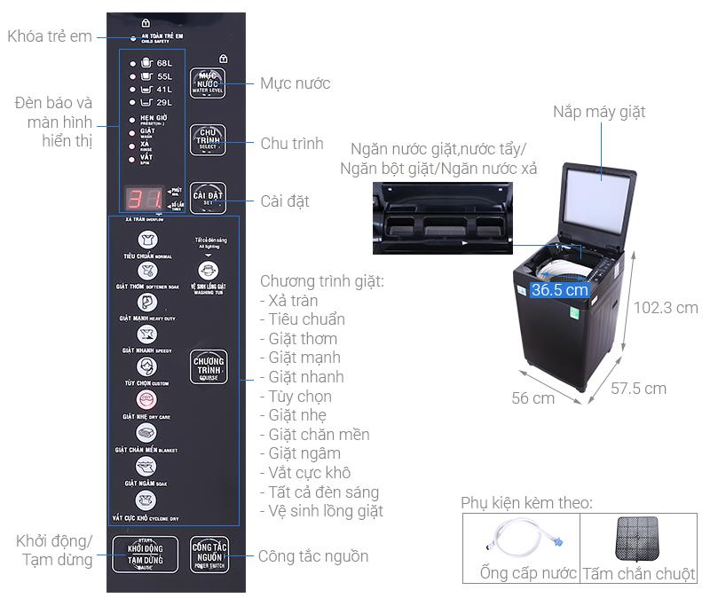 Máy giặt Aqua 10 KG AQW-F100GT.BK