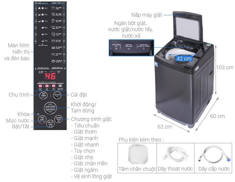 Máy giặt Aqua 12 kg AQW-FW120GT.BK
