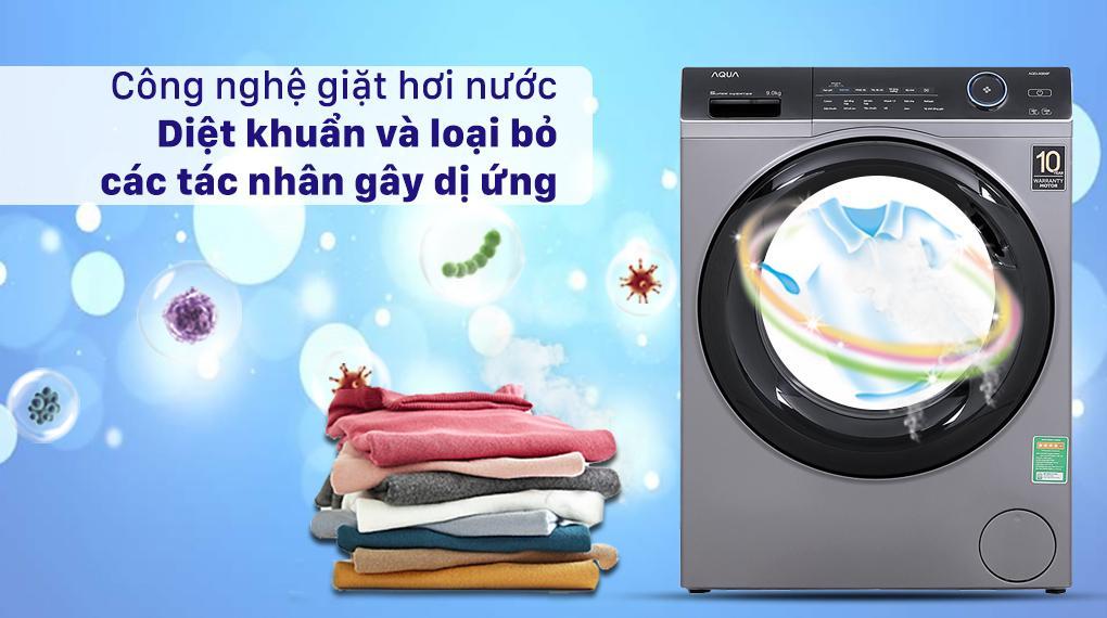 Máy giặt Aqua AQD-A900F S giúp các bạn diệt vi khuẩn tối ưu, loại bỏ tác nhân gây dị ứng nhờ công nghệ giặt hơi nước