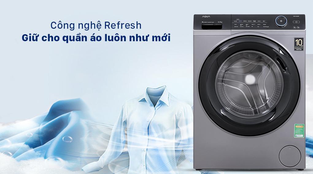 Máy giặt Aqua AQD-A900F S Công nghệ Refresh làm sạch bằng hơi nước giữ cho áo quần luôn như mới