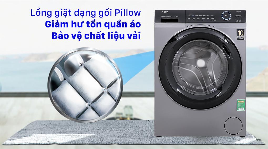 Máy giặt Aqua AQD-A900F S sử dụng lồng giặt Pillow giảm hư tổn tối đa từ đó bảo vệ quần áo sau mỗi chu trình giặt