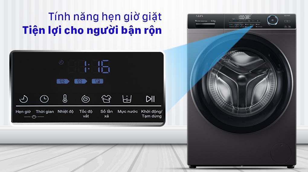 Máy giặt Aqua AQD-A900F S có thêm tính năng hẹn giờ tiện lợi thích hợp cho người bận rộn