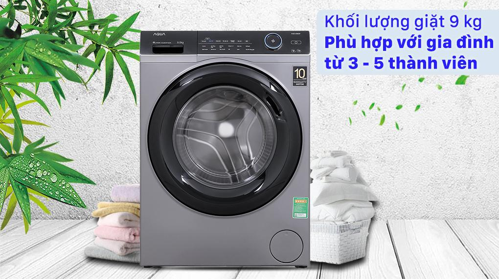Sở hữu khối lượng giặt 9 kg rất phù hợp với gia đình từ 3 - 5 thành viên