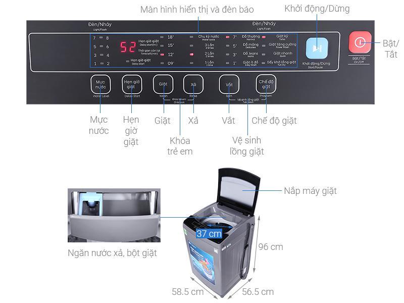 Đánh giá máy giặt Casper 9.5 kg WT-95N68BGA