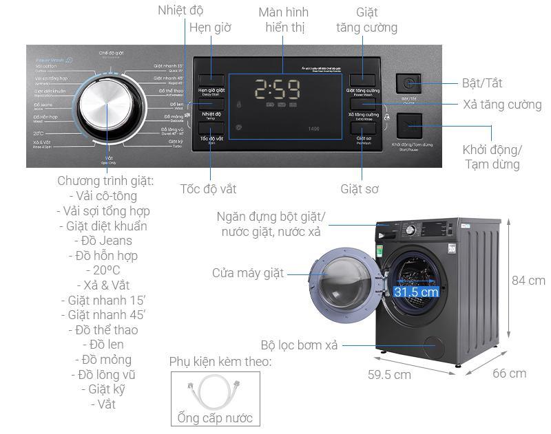Review - Đánh giá Máy giặt Casper WF-125I140BGB
