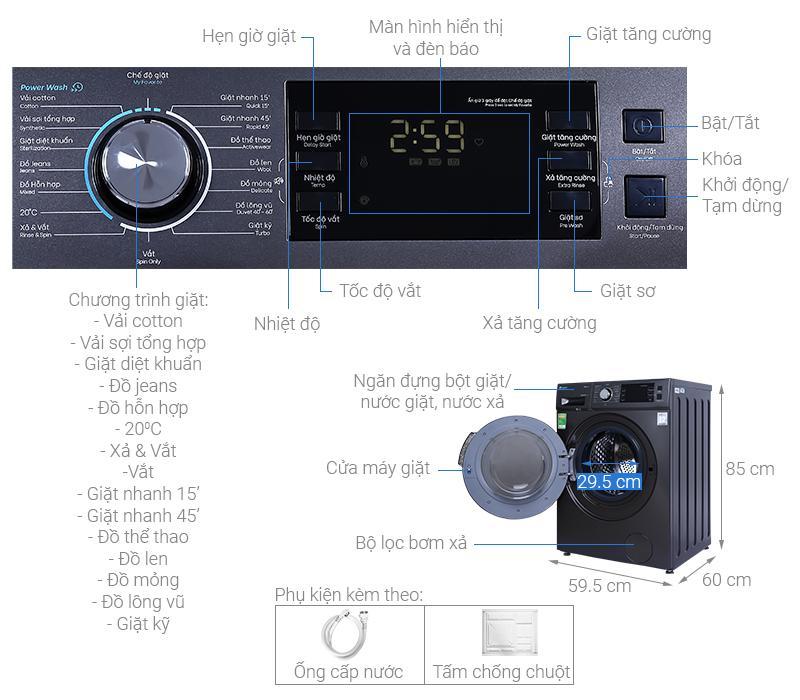 Đánh giá tổng quan Máy giặt Casper WF-95I140BGB